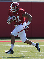 NWA Democrat-Gazette/ANDY SHUPE<br /> Arkansas running back Devwah Whaley carries the ball during a drill Saturday, April 1, 2017, during practice at the university practice field in Fayetteville. Visit nwadg.com/photos to see more photographs from practice.