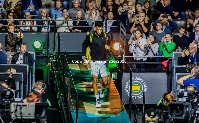 Rotterdam, The Netherlands, 16 Februari 2020, ABNAMRO World Tennis Tournament, Ahoy,<br /> Mens Final:  Felix Auger-Aliassime (CAN) makes his entrance<br /> Photo: www.tennisimages.com