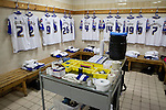 The home team's kit laid out in the dressing room at Prenton Park before Tranmere Rovers host Stoke City in a Capital One Cup third round match. The Capital One cup was formerly known as the League Cup and was competed for by all 92 English Premier League and Football League clubs. Visitors Stoke City won the match 2-0, watched by a crowd of 5,559 spectators.
