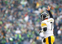 Ben Roethlisberger #7 of the Pittsburgh Steelers celebrates following a touchdown in the first half against the Seattle Seahawks during the game at CenturyLink Field on November 29, 2015 in Seattle, Washington. (Photo by Jared Wickerham/DKPittsburghSports)