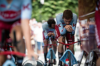 Alex Dowsett (GBR/Katusha-Alpecin) warming up for the TTT<br /> <br /> Stage 2 (TTT): Brussels to Brussels (BEL/28km) <br /> 106th Tour de France 2019 (2.UWT)<br /> <br /> ©kramon