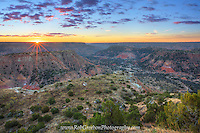 Sunrise was beautiful on this frigid November morning. Seen here from the Visitor Center in Palo Duro Canyon, the red rocks soak in the sunshine and glow red as the first light of day begins to warm the cold Texas air.