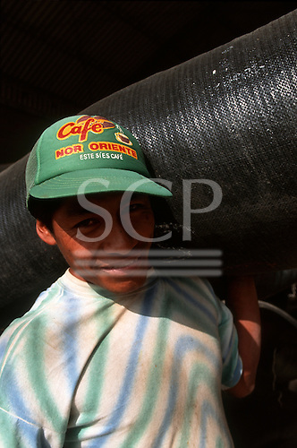 Chiclayo, Peru. Worker, Cafe Nor Oriente, a fair trade partner co-operative supplier of Cafe Direct, carrying a large bag of coffee.
