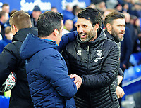 Everton manager Marco Silva, left, and Lincoln City manager Danny Cowley<br /> <br /> Photographer Andrew Vaughan/CameraSport<br /> <br /> Emirates FA Cup Third Round - Everton v Lincoln City - Saturday 5th January 2019 - Goodison Park - Liverpool<br />  <br /> World Copyright &copy; 2019 CameraSport. All rights reserved. 43 Linden Ave. Countesthorpe. Leicester. England. LE8 5PG - Tel: +44 (0) 116 277 4147 - admin@camerasport.com - www.camerasport.com