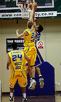 Arthur Trousdell blocks Jay Anderson's shot during the NBL Basketball match between Wellington Saints and Otago Nuggets at TSB Bank Arena, Wellington, New Zealand on Sunday, 30 March 2008. Photo: Dave Lintott / lintottphoto.co.nz