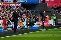 Sunday April 02 2017 <br /> Pictured: Manager of Swansea City, Paul Clement looks on during the game <br /> Re: Premier League match between Swansea City and Middlesbrough at The Liberty Stadium, Swansea, Wales, UK. SUnday 02 April 2017