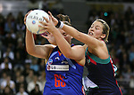 Vixens Julie Prendercast (R) and Mystics Catherine Latu do battle during the Melbourne Vixens v  Northern Mystics, Final Round of the ANZ Championships at Hisense Arena 6-7-08.Photo: Grant Treeby