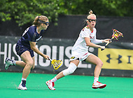 College Park, MD - May 19, 2018: Maryland Terrapins Caroline Steele (11) passes the ball during the quarterfinal game between Navy and Maryland at  Field Hockey and Lacrosse Complex in College Park, MD.  (Photo by Elliott Brown/Media Images International)