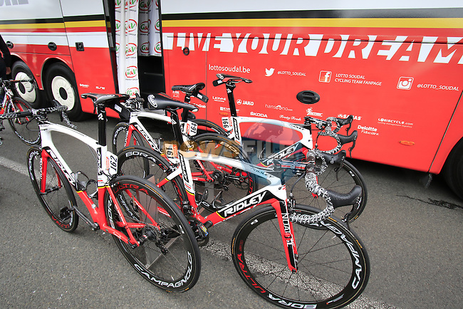Lotto-Soudal Ridley Noah team bikes at the team bus before the start of Stage 3 of the 2016 Tour de France, running 223.5km from Granville to Angers, France . 4th July 2016.<br /> Picture: Eoin Clarke | Newsfile<br /> <br /> <br /> All photos usage must carry mandatory copyright credit (&copy; Newsfile | Eoin Clarke)