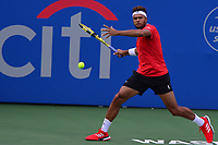 Washington, DC - July 30, 2019: Jo-Wilfried Tsonga of France plays a singles match against Karen Khachanov at the William Fitzgerald stadium in Rock Creek Park, Washington, DC during the Citi Open tennis tournament July 30, 2019.  (Photo by Don Baxter/Media Images International)