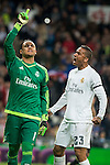 Real Madrid's Keylor Navas and Danilo da Silva after stops the penalty and Sevilla FC's  during La Liga match. March 20,2016. (ALTERPHOTOS/Borja B.Hojas)