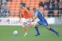 Blackpool's Chris Long under pressure from Gillingham's Barry Fuller<br /> <br /> Photographer Kevin Barnes/CameraSport<br /> <br /> The EFL Sky Bet League One - Blackpool v Gillingham - Saturday 4th May 2019 - Bloomfield Road - Blackpool<br /> <br /> World Copyright © 2019 CameraSport. All rights reserved. 43 Linden Ave. Countesthorpe. Leicester. England. LE8 5PG - Tel: +44 (0) 116 277 4147 - admin@camerasport.com - www.camerasport.com
