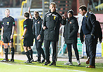 Dundee United v St Johnstone...12.03.14    SPFL<br /> Ref Crawford Allan sends Jackie McNamara off as Iain Brines gestures to Tommy Wright who was sent off next<br /> Picture by Graeme Hart.<br /> Copyright Perthshire Picture Agency<br /> Tel: 01738 623350  Mobile: 07990 594431