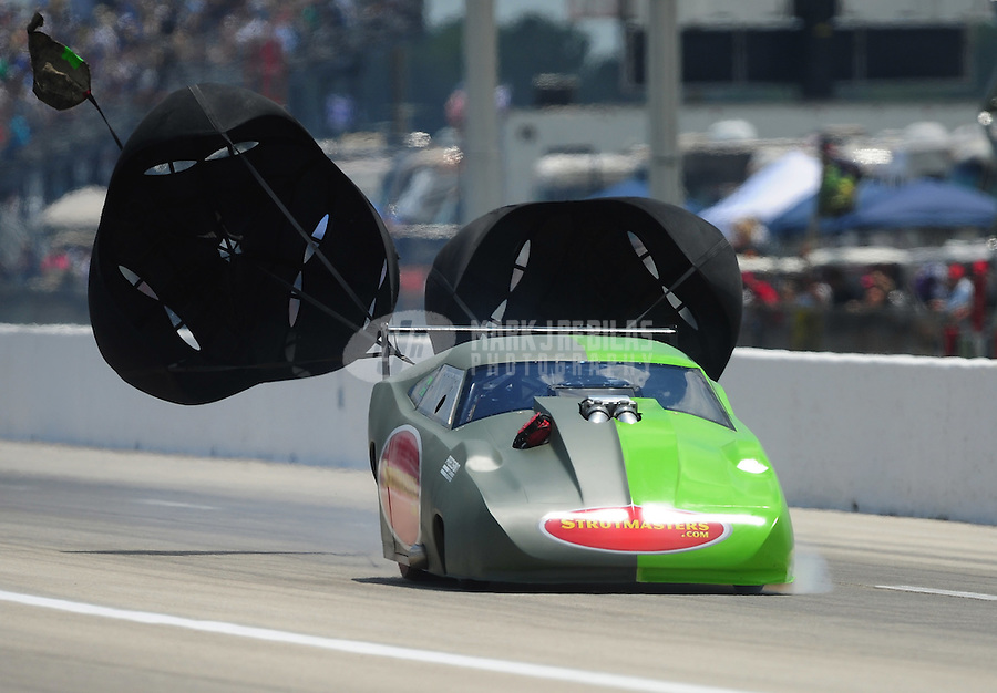 Apr. 28, 2012; Baytown, TX, USA: NHRA pro mod driver Chip King during qualifying for the Spring Nationals at Royal Purple Raceway. Mandatory Credit: Mark J. Rebilas-