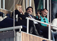 Football star Diego Armando Maradona with his new girlfriend Rocio Geraldine Oliva during La Liga match.March 02,2013.(ALTERPHOTOS/Pablo Alconada) /NortePhoto