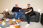 Dany Verlinden with his son Thibaud Verlinden at their flat in Newcastle under Lyne -  Football - Barclays Premier League - Stoke City