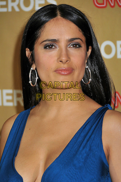 SALMA HAYEK .at The CNN Heroes: An All Star Tribute held at The Kodak Theatre in Hollywood, California, USA, November 22nd 2008.                                                                  .portrait headshot straight hair blue silver hoop earrings .CAP/ADM/BP.©Byron Purvis/Admedia/Capital PIctures