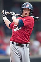 Huntsville outfielder Drew Anderson gets loose in the on deck circle in game action versus Carolina at Five County Stadium in Zebulon, NC, Wednesday, July 19, 2006.