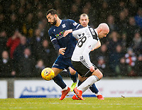 7th March 2020; Somerset Park, Ayr, South Ayrshire, Scotland; Scottish Championship Football, Ayr United versus Dundee FC; Kane Hemmings of Dundee challenges for the ball with Grant Gillespie of Ayr United