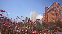 The twin towers of the World Trade Center rise above the scenery  in New York City.  (Photo by Brian Cleary/www.bcpix.com)