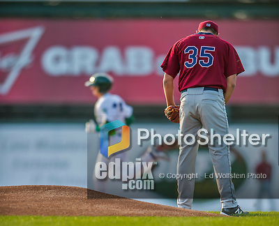 8 July 2015: Mahoning Valley Scrappers pitcher Leandro Linares steps off the mound after serving up a home-run to Vermont Lake Monsters outfielder Steven Pallares in the first inning at Centennial Field in Burlington, Vermont. The Lake Monsters defeated the Scrappers 9-4 to open the home game series of NY Penn League action. Mandatory Credit: Ed Wolfstein Photo *** RAW Image File Available ****