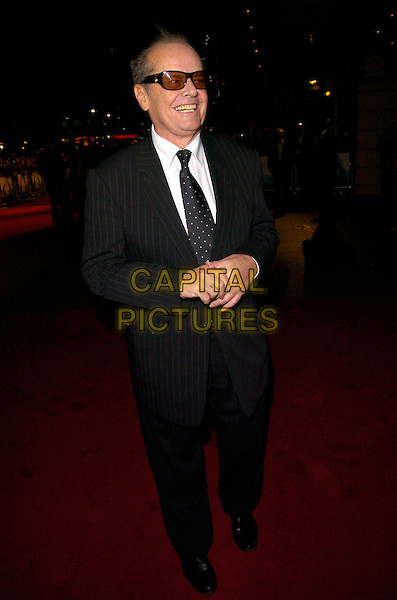 "JACK NICHOLSON.UK Premiere of ""The Bucket List"" held at the Vue cinema, Leicester Square, London, England..January 23rd, 2008    .full length black pinstripe suit jacket sunglasses shades tinted glasses.CAP/CAN.©Can Nguyen/Capital Pictures."