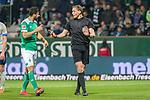 08.03.2019, Weser Stadion, Bremen, GER, 1.FBL, Werder Bremen vs FC Schalke 04, <br /> <br /> DFL REGULATIONS PROHIBIT ANY USE OF PHOTOGRAPHS AS IMAGE SEQUENCES AND/OR QUASI-VIDEO.<br /> <br />  im Bild<br /> <br /> Martin Petersen (Schiedsrichter / Referee)  Claudio Pizarro (Werder Bremen #04)<br /> fordert videobeweis<br /> <br /> Foto &copy; nordphoto / Kokenge