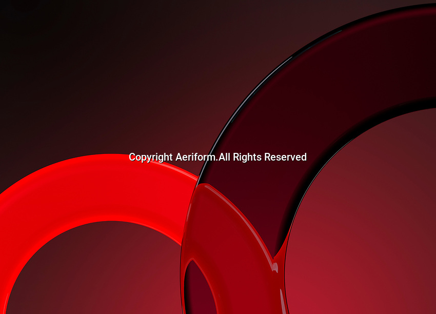 Close up abstract pattern of red overlapping circles