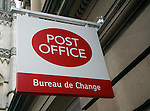Post Office Bureau de Change sign