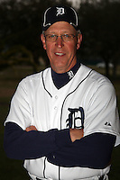 February 27, 2010:  Coach Jon Matlack of the Detroit Tigers poses for a photo during media day at Joker Marchant Stadium in Lakeland, FL.  Photo By Mike Janes/Four Seam Images