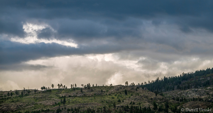 Photograph of stormy weather high in the mountains in the south Okanagan Valley of British Columbia.