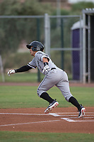 AZL White Sox first round draft pick and designated hitter Nick Madrigal (7) collects his first base hit as a professional during an Arizona League game against the AZL Cubs 2 at Sloan Park on July 13, 2018 in Mesa, Arizona. The AZL Cubs 2 defeated the AZL White Sox 6-4. (Zachary Lucy/Four Seam Images)