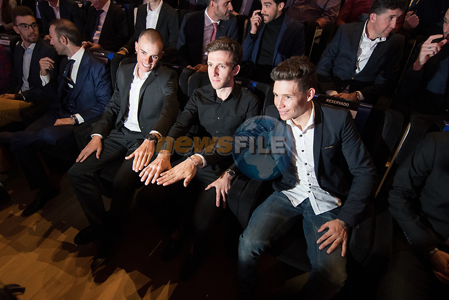Last year&rsquo;s podium Simon Yates (GBR), Enric Mas (ESP)and Miguel &Aacute;ngel L&oacute;pez (COL) attended the official route for La Vuelta 19 was today announced at the ADDA auditorium in Alicante. The 74th edition of the Spanish race will take place between August 24th and September 15th 2019, setting out from Salinas de Torrevieja and ending in Madrid. 19th December 2018.<br /> Picture: Unipublic/Antonio Baixauli | Cyclefile<br /> <br /> <br /> All photos usage must carry mandatory copyright credit (&copy; Cyclefile | Unipublic/Antonio Baixauli)