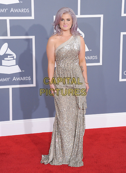 Kelly Osbourne.The 54th Annual GRAMMY Awards held at the Staples Center, Los Angeles, California, USA..February 12th, 2012.full length silver sequins sequined one shoulder dress  .CAP/RKE/DVS.©DVS/RockinExposures/Capital Pictures.