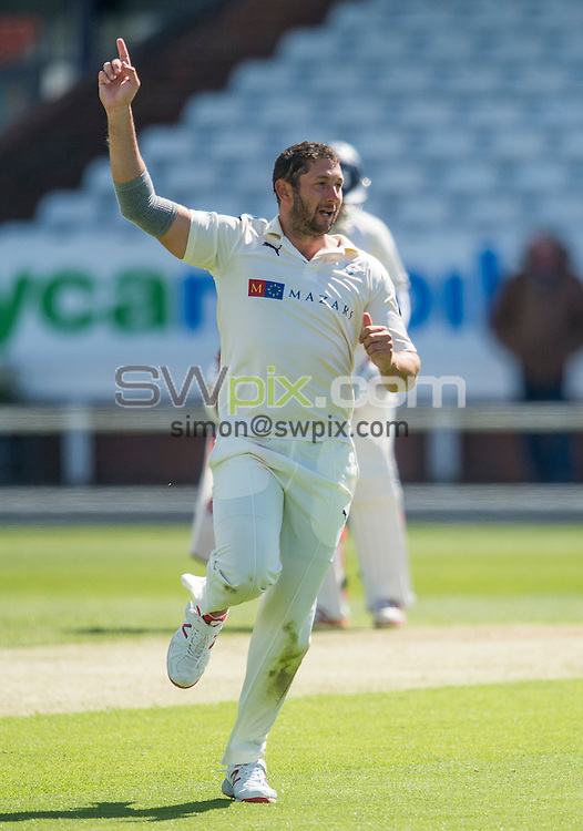 Picture by Allan McKenzie/SWpix.com - 26/04/2015 - Cricket - LV County Championship Div One - Yorkshire County Cricket Club v Warwickshire County Cricket Club - Headingley Cricket Ground, Leeds, England - Yorkshire's Tim Bresnan celebrates dismissing William Porterfield of Warwickshire.