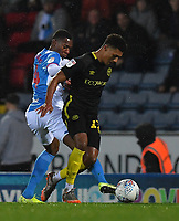 Blackburn Rovers' Tosin Adarabioyo battles for the ball<br /> <br /> Photographer Dave Howarth/CameraSport<br /> <br /> The EFL Sky Bet Championship - Blackburn Rovers v Brentford - Wednesday 27th November 2019 - Ewood Park - Blackburn<br /> <br /> World Copyright © 2019 CameraSport. All rights reserved. 43 Linden Ave. Countesthorpe. Leicester. England. LE8 5PG - Tel: +44 (0) 116 277 4147 - admin@camerasport.com - www.camerasport.com
