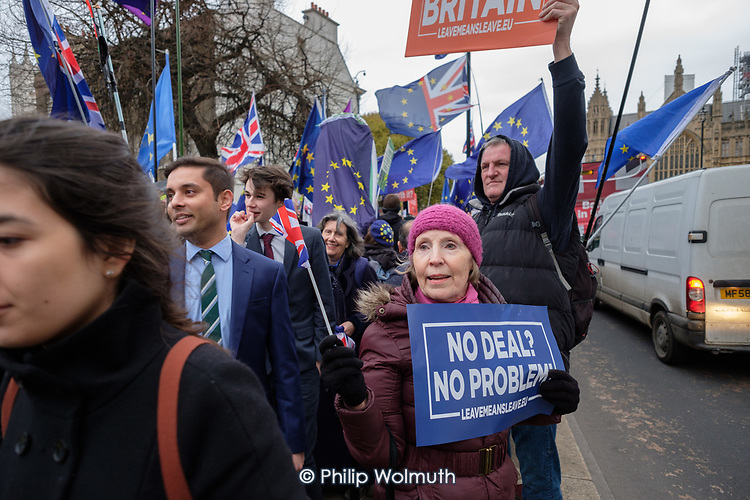 No Deal No Problem.  Pro Brexit protesters demonstrate outside the Houses of Parliament on the day MPs voted decisively to reject Theresa May's withdrawal deal with the EU.  Westminster, London.