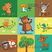Sarah, CUTE ANIMALS, LUSTIGE TIERE, ANIMALITOS DIVERTIDOS, paintings+++++woodlandsquares-15-A,USSB573,#AC#, EVERYDAY ,bears,woods