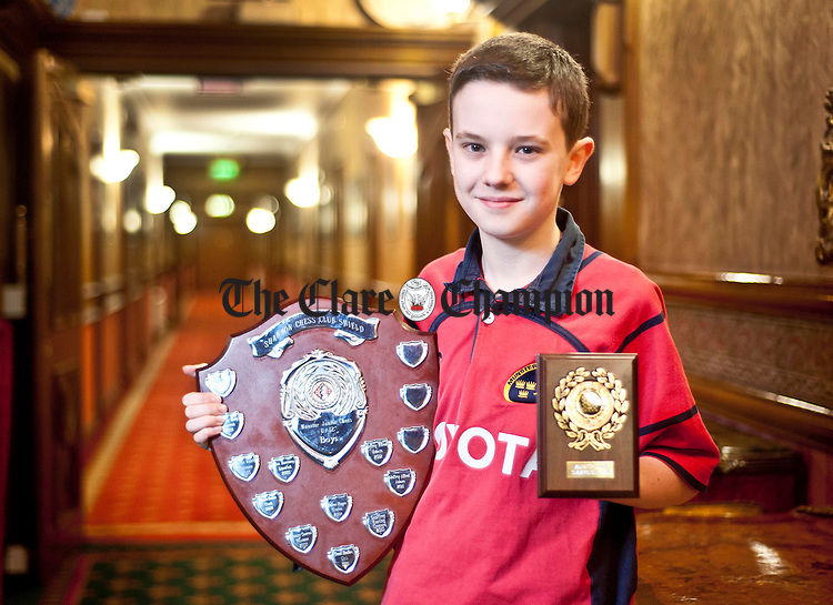 Cian Wall from Quin, U-12 winner at this year's Munster Junior Chess Championships. Photograph by Declan Monaghan