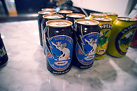 Cans of beer, including Moo Thunder Stout, produced by Butternuts Brewery, a micro-brewery located in upstate New York is seen on a restaruant counter in New York on Wednesday, March 21, 2012. (© Richard B. Levine)
