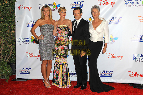Heidi Klum, Melanie Griffith, Antonio Banderas, Jamie Lee Curtis.Children's Hospital Los Angeles Gala: Noche de Ninos, Los Angeles, California, USA, 20th October 2012..full length strapless silver glittery sparkly dress black floral print hand on hip long maxi skirt white jacket suit tie fishtail .CAP/ADM/PH.©Paul A. Hebert/AdMedia/Capital Pictures.