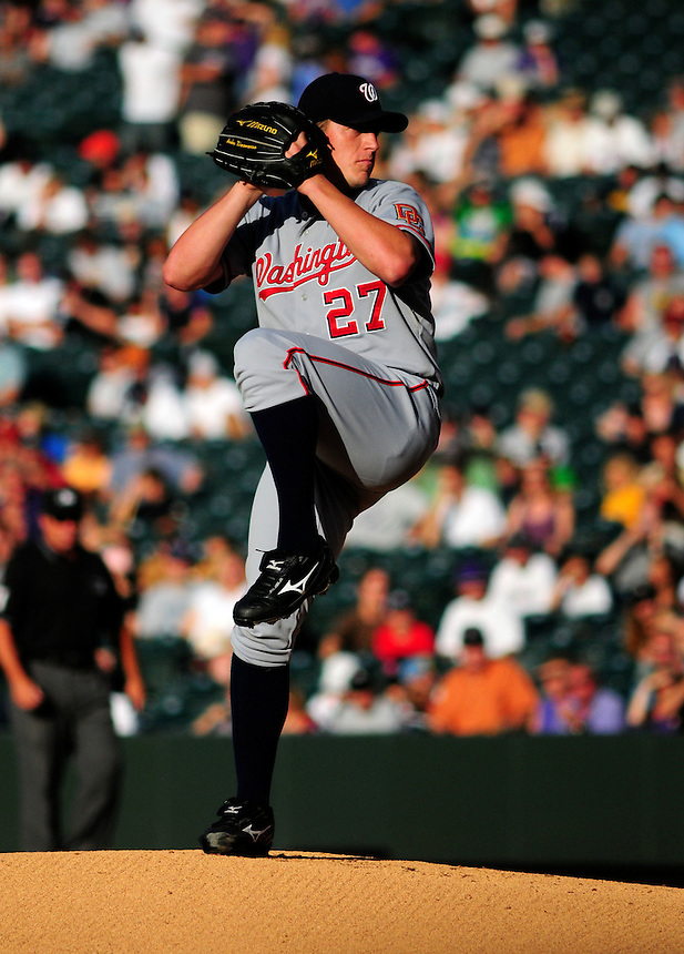 July 5, 2009: Nationals starting pitcher and 2009 Rookie of the Year candidate Jordan Zimmermann pitches during a regular season game between the Washington Nationals and the Colorado Rockies at Coors Field in Denver, Colorado. The Rockies evened the series by beating the Nationals 5-4.