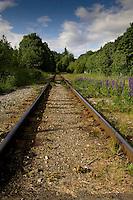 Rail track - close to Squamish. North Vancouver, British Columbia, Canada.