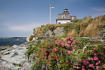 Rose Island Lighthouse in Narragansett Bay, Newport, RI, USA