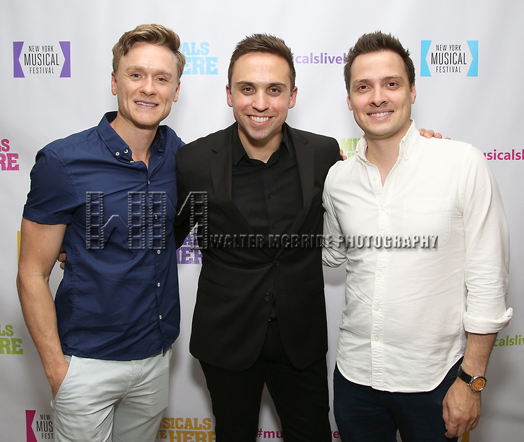 """Josh Canfield, Taylor Peckham and David Ruttura backstage at the New York Musical Festival production of  """"Alive! The Zombie Musical"""" at the Alice Griffin Jewel Box Theatre on July 29, 2019 in New York City."""