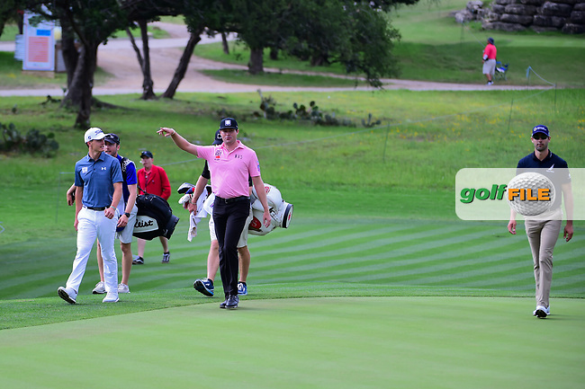Blayne Barber (USA), Kyle Reifers (USA), and Cameron Tringale (USA) approach the 16th green during round 2 of the Valero Texas Open, AT&amp;T Oaks Course, TPC San Antonio, San Antonio, Texas, USA. 4/21/2017.<br /> Picture: Golffile | Ken Murray<br /> <br /> <br /> All photo usage must carry mandatory copyright credit (&copy; Golffile | Ken Murray)
