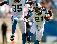 Carolina Panthers cornerback Ken Lucas (#21) run with the ball as during a game against the Houston Texans at Bank of America stadium. The Carolina Panthers, professional American NFL football team that represents both North Carolina and South Carolina, is based in Charlotte, North Carolina. The Panthers began playing in 1995 as part of the National Football League?s expansion program. They are members of the National Football Conference (NFC) South Division. They play in the Bank of America Stadium, located in downtown Charlotte.