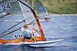 Sebastian Kornum of Denmark races with Ricardi Maricel of Saint Martin. The Highland Springs HIHO 2009 windsurfing regatta in the BVIs is a week long race between the islands. Racing, partying, great food and amazing sights make this a unique event.