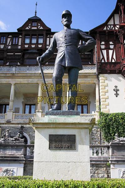 King Carol the First statue, Peles Castle, Sinaia, Prahova Valley, Transylvania, Romania
