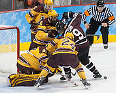 Adam Wilcox (MN - 32), Hudson Fasching (MN - 24), Jake Parenteau (MN - 6), Mike Reilly (MN - 5), Daniel Carr (Union - 9) (Miller) - The Union College Dutchmen defeated the University of Minnesota Golden Gophers 7-4 to win the 2014 NCAA D1 men's national championship on Saturday, April 12, 2014, at the Wells Fargo Center in Philadelphia, Pennsylvania.